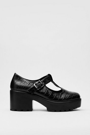 Patent Leather Chunky Croc Mary Jane Shoes , Black