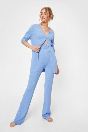Cornflower blue Knit Cardigan and Flare Pants Lounge Set