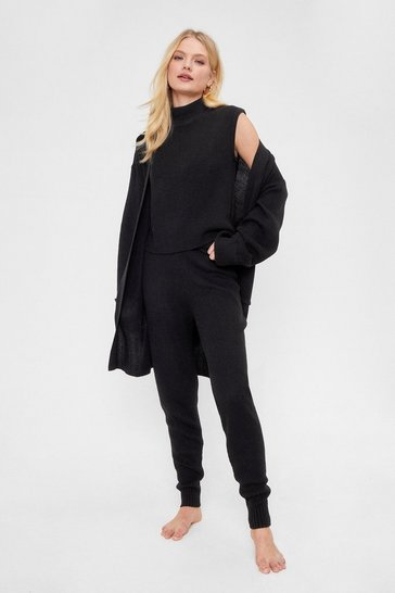 Black Knitted High Neck Top Cardigan and Jogger Lounge Set