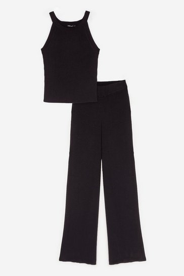 Black Knitted Crew Neck Top and Wide Leg Pants Lounge Set