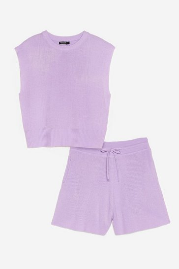 Lilac Knitted Tank Top and Shorts Lounge Set