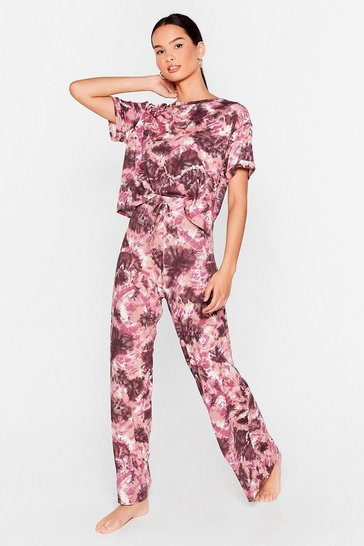 Mauve Hey Me Again Tie Dye Top and Pants Pajama Set