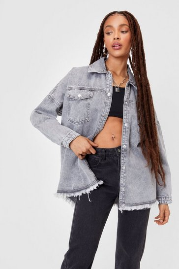 Grey Raw Me Close Oversized Denim Jacket