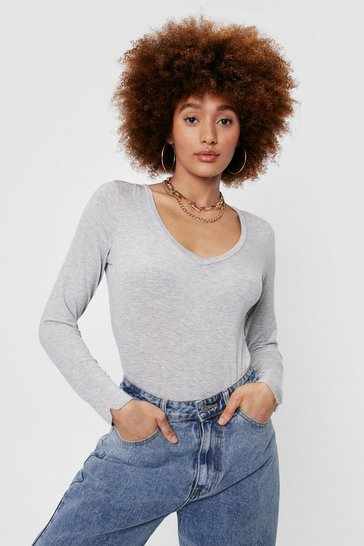 Grey marl V Real With Me High-Leg Bodysuit