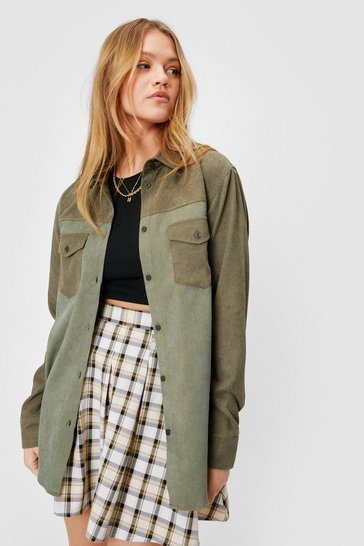 Khaki Two Tone Oversized Corduroy Shirt