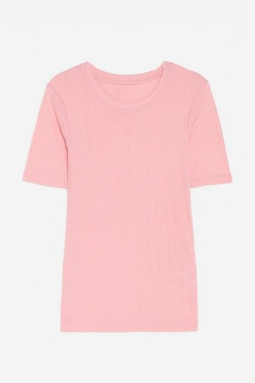 Rose Ribbed Crew Neck T-Shirt