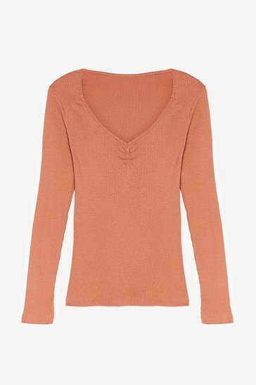 Camel Sweetheart to Sweetheart Neckline Ribbed Top