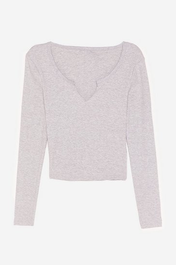 Grey marl Thought We'd V You Here Cropped Top