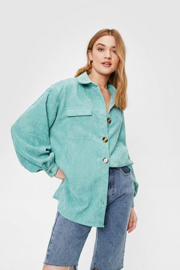 Sage Corduroy Oversized Button Down Shirt
