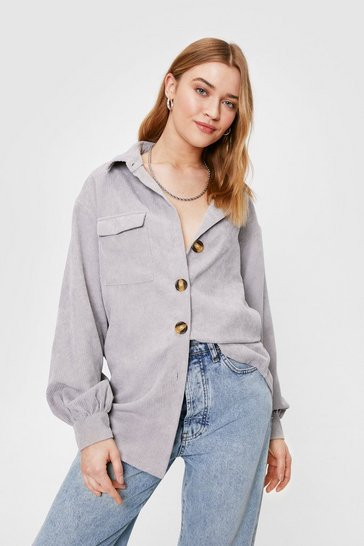 Silver Corduroy Oversized Button Down Shirt