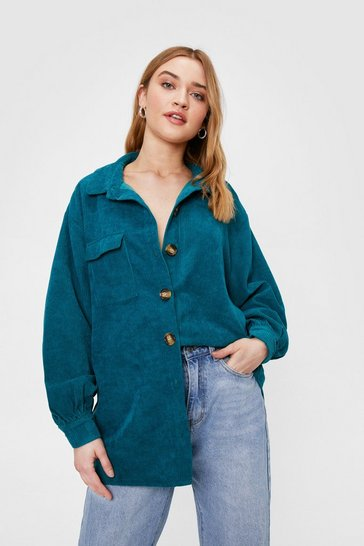 Teal Corduroy Oversized Button Down Shirt