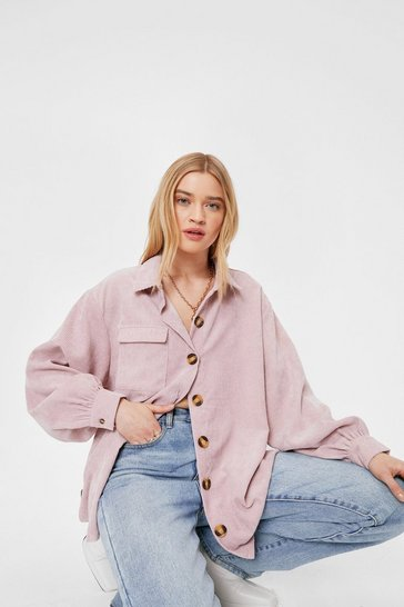 Dusky pink Oversized Corduroy Long Sleeve Shirt