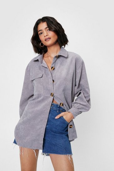 Grey Oversized Corduroy Long Sleeve Shirt
