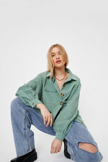 Khaki Oversized Corduroy Long Sleeve Shirt
