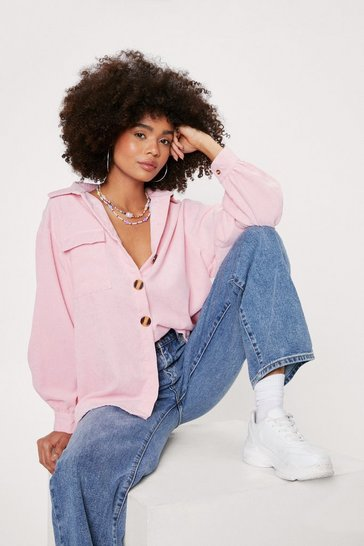 Pink Oversized Corduroy Long Sleeve Shirt