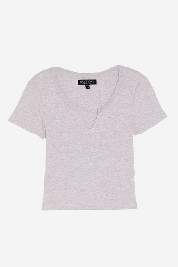 Grey marl Notch Your Girl Relaxed Crew Neck Tee