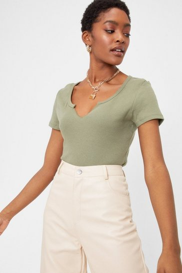 Khaki Notch Your Girl Relaxed Crew Neck Tee