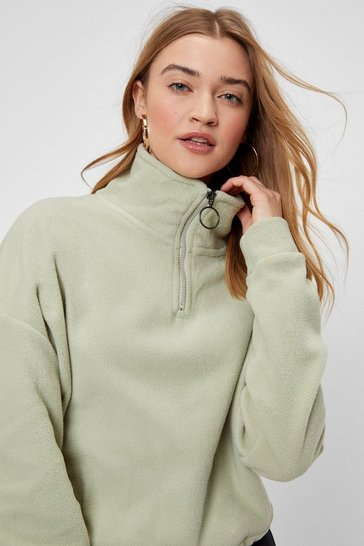 Khaki The Missing Fleece High Neck Zip Sweatshirt