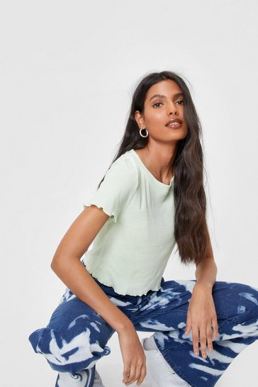 Pistachio On the Edge Ribbed Ruffle Tee