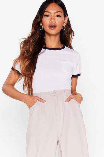 White Give 'Em a Ringer Contrasting Ribbed Tee