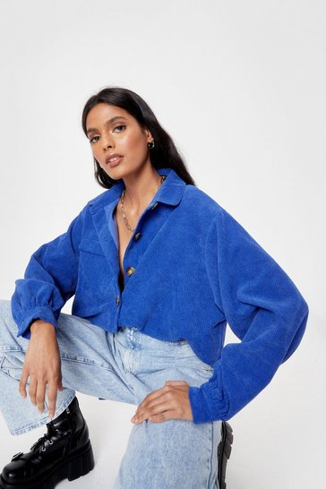 Cobalt Button to You Oversized Corduroy Shirt