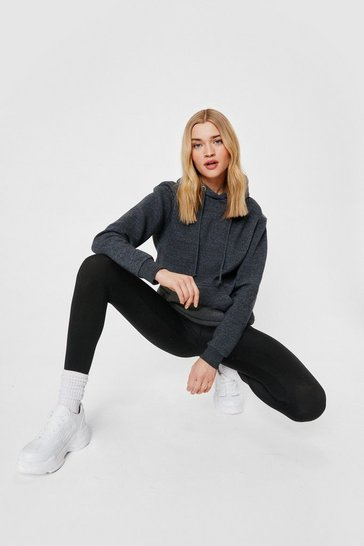 Charcoal Oversized Marl Drawstring Hoodie
