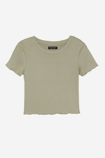 Khaki Give Hem What They Want Ruffle Crop Top