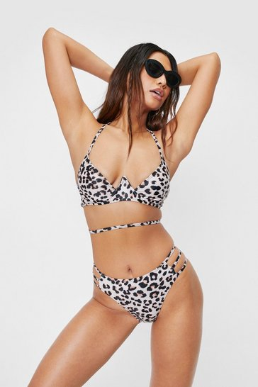 Stone Leopard Print Underwired High Leg Bikini Set