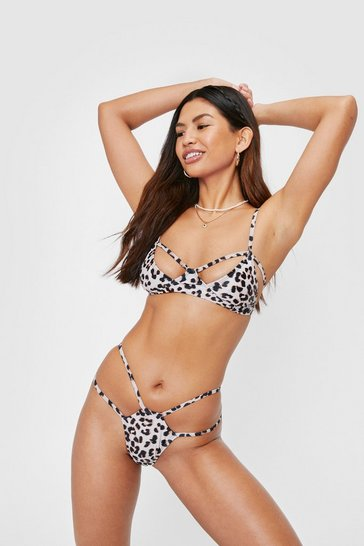 Stone Leopard Print Strappy Cut Out Bikini Set