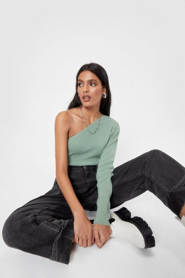 Green Be the One Shoulder Knitted Top