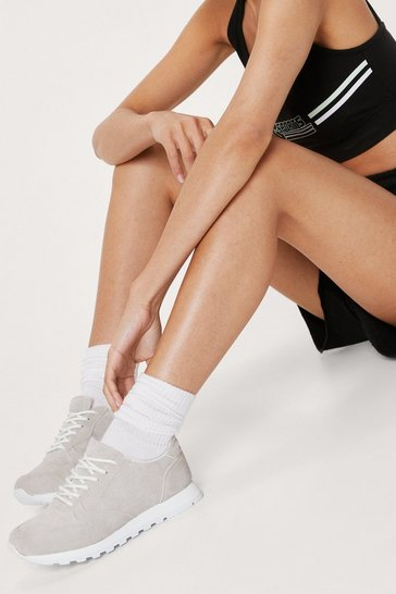Cream Cleated Faux Suede Lace Up Trainers