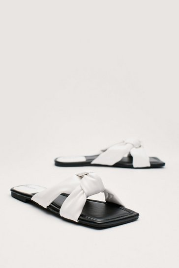 White Faux Leather Square Toe Knot Detail Flat Sandals
