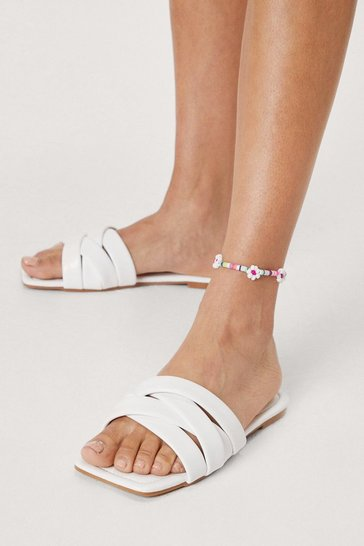 White Faux Leather Woven Square Toe Slip On Sandals