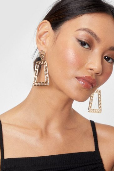 Gold Geo Door Knocker Earrings