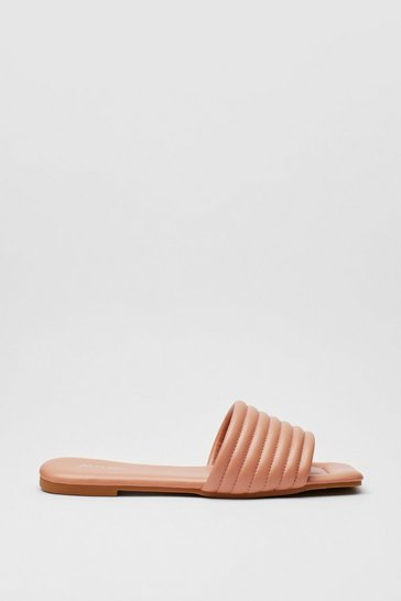 Pink Square Toe Faux Leather Flat Sandals