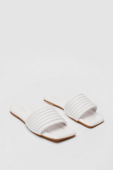 White Square Toe Faux Leather Flat Sandals