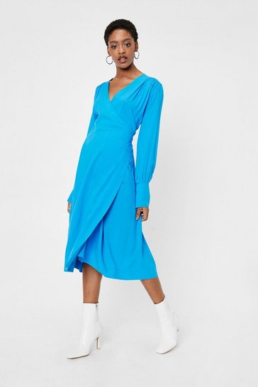 Blue Plunging Gathered Wrap Tie Midi Dress