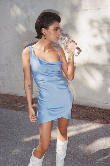 Blue Asymmetric Satin Cowl Neck Mini Dress