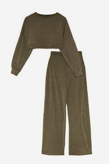 Khaki Back to Basics Petite Crop Top and Pants Lounge Set