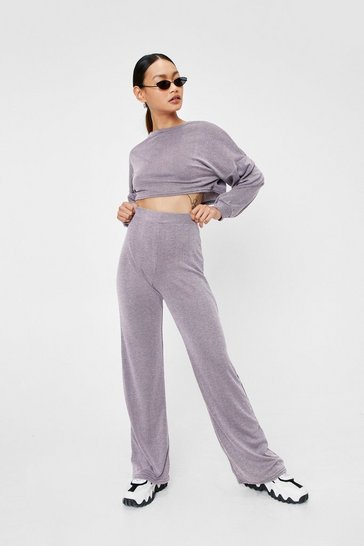 Pink Back to Basics Petite Crop Top and Pants Lounge Set