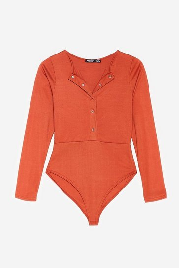 Rust Keep Rib Up Petite High-Leg Bodysuit