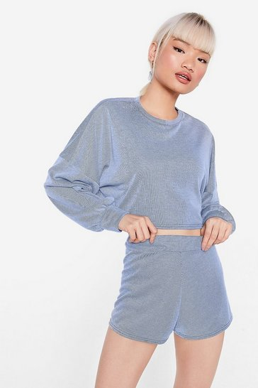 Blue Back to the Basics Petite Crop Top and Shorts Lounge Set