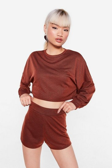 Rust Back to the Basics Petite Crop Top and Shorts Lounge Set