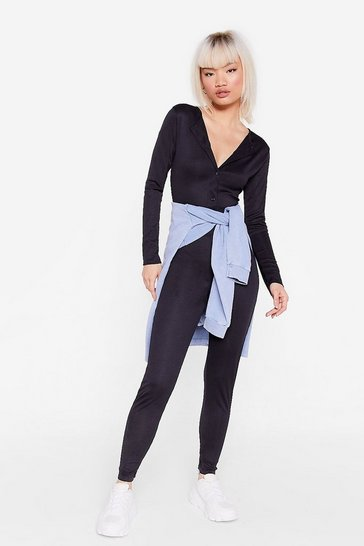 Black Petite Long Sleeve Fitted Jumpsuit