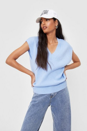 Blue Ribbed Knit V Neck Longline Tank Top