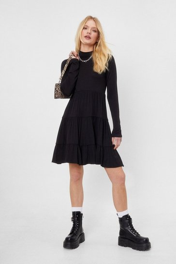 Black High Neck Tiered Long Sleeve Mini Dress