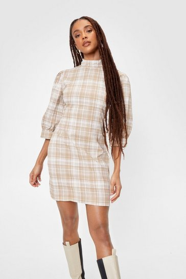 Taupe Check Print High Neck Mini Dress