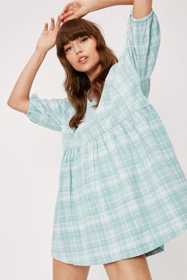 Mint Check Print V Neck Puff Sleeve Smock Mini Dress