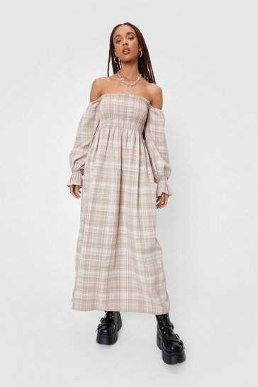 Light sand Check Print Off the Shoulder Midi Dress