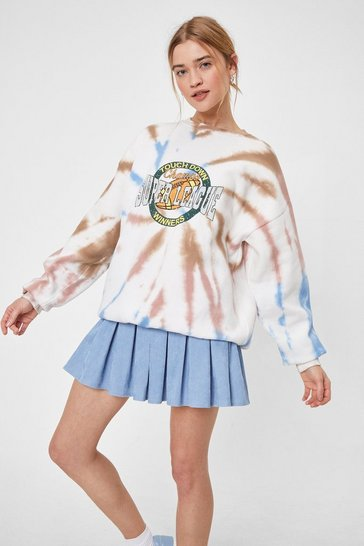 White Touch Down Graphic Tie Dye Sweatshirt